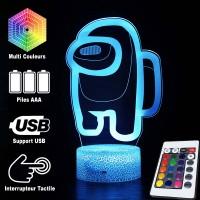 Lampe Among Us 3D caractéristiques télécommande